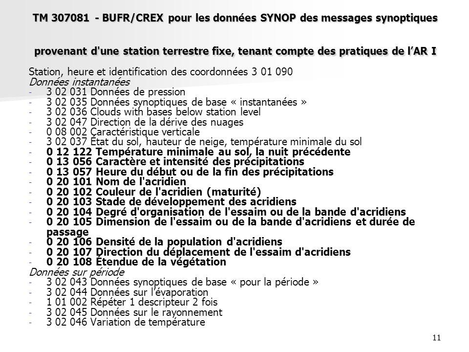 TM 307081 - BUFR/CREX pour les données SYNOP des messages synoptiques provenant d une station terrestre fixe, tenant compte des pratiques de l'AR I