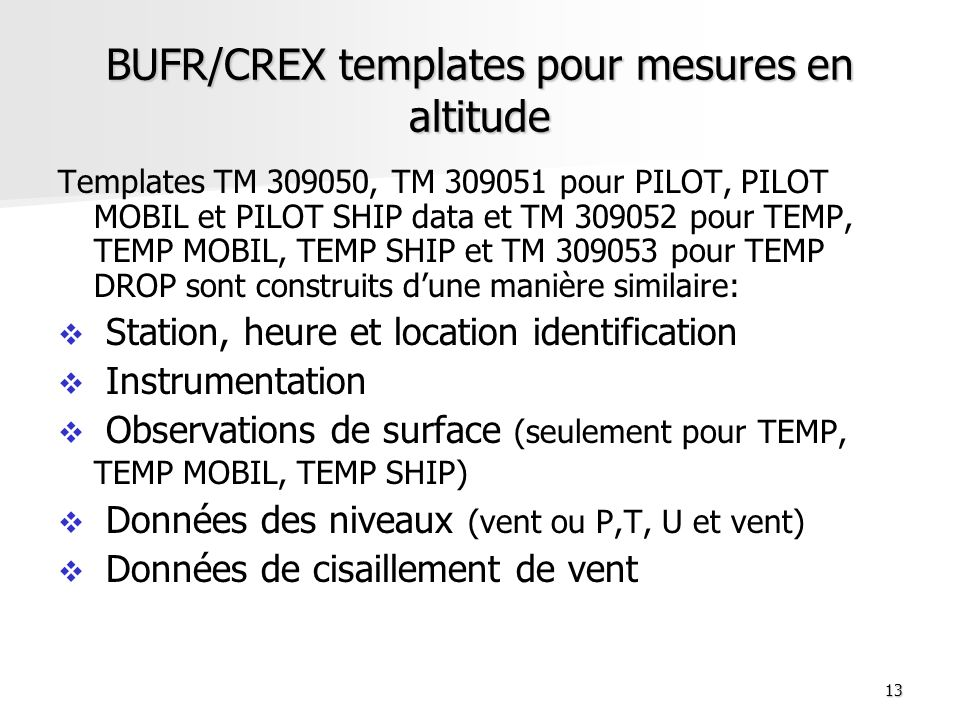 BUFR/CREX templates pour mesures en altitude