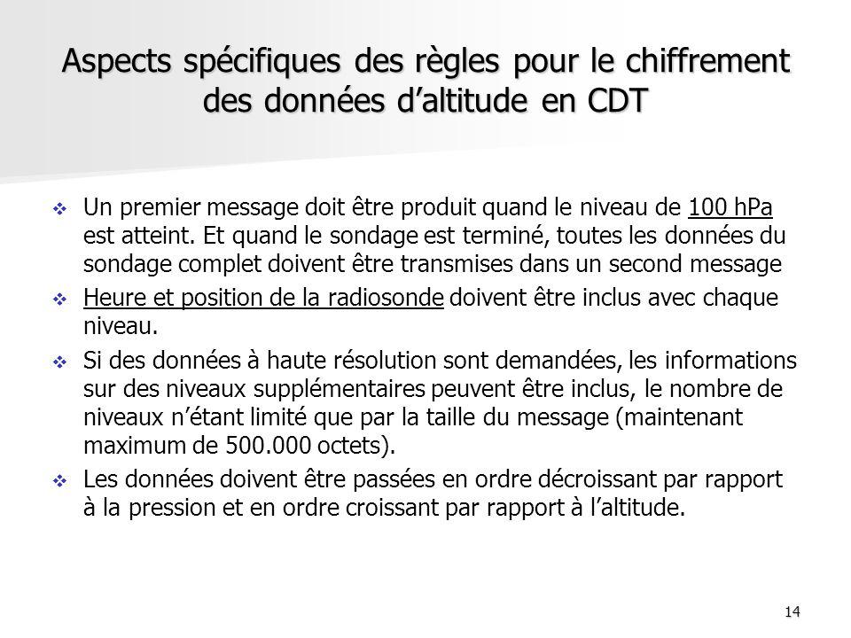 Aspects spécifiques des règles pour le chiffrement des données d'altitude en CDT