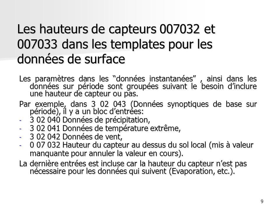 Les hauteurs de capteurs 007032 et 007033 dans les templates pour les données de surface