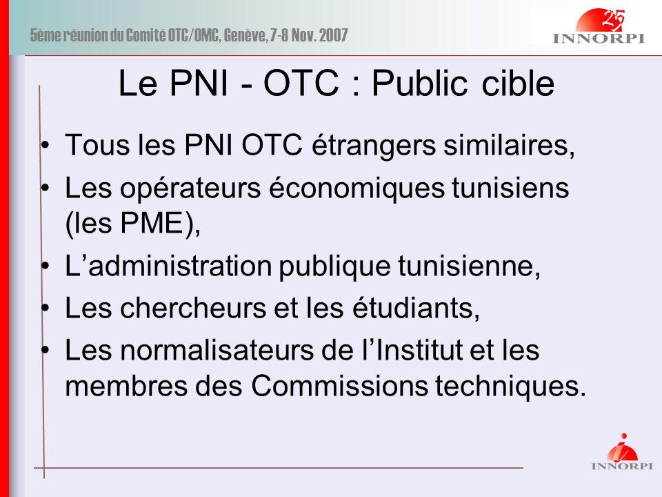 Le PNI - OTC : Public cible