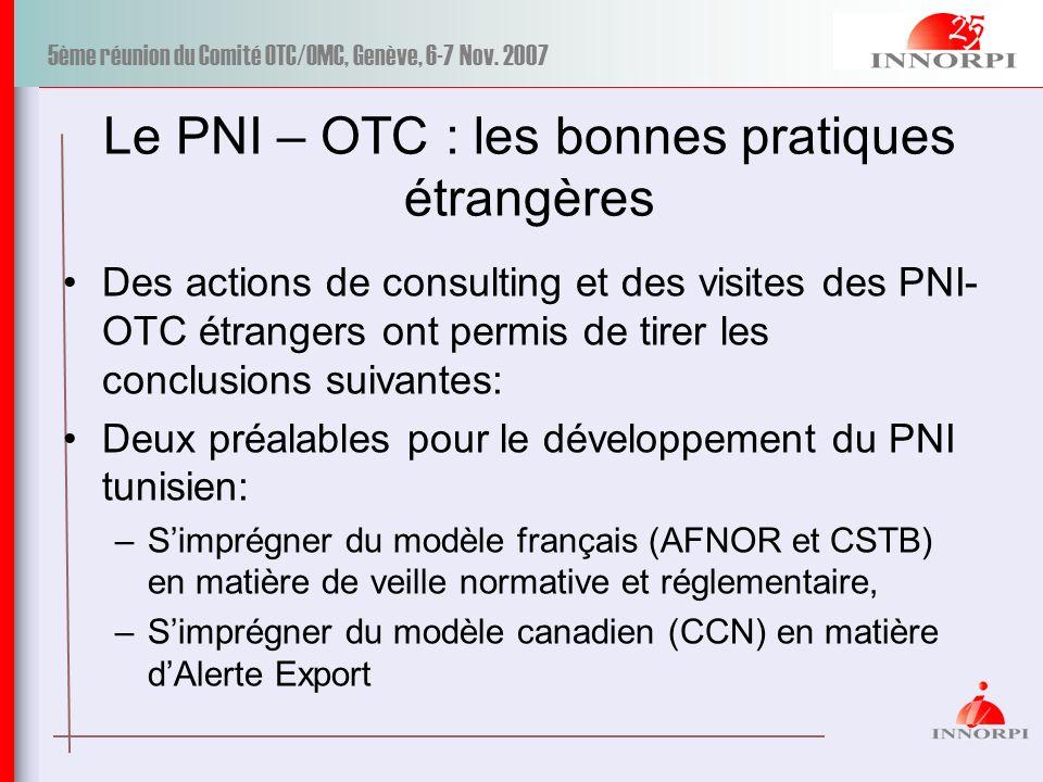 Le PNI – OTC : les bonnes pratiques étrangères
