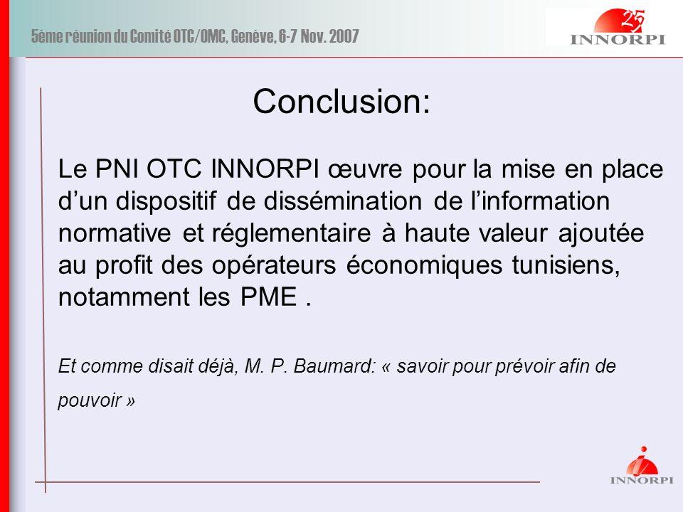 5ème réunion du Comité OTC/OMC, Genève, 6-7 Nov. 2007