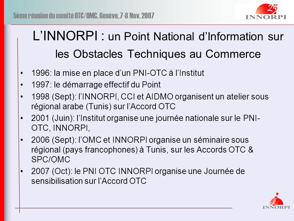 5ème réunion du comité OTC/OMC, Genève, 7-8 Nov. 2007