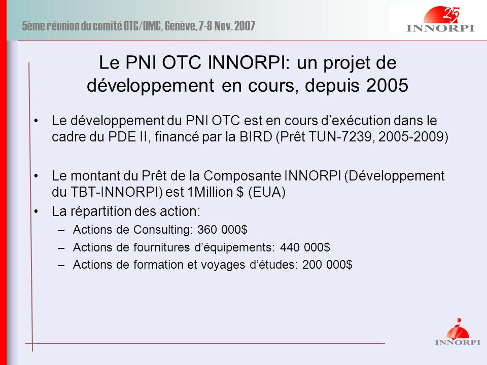 Le PNI OTC INNORPI: un projet de développement en cours, depuis 2005