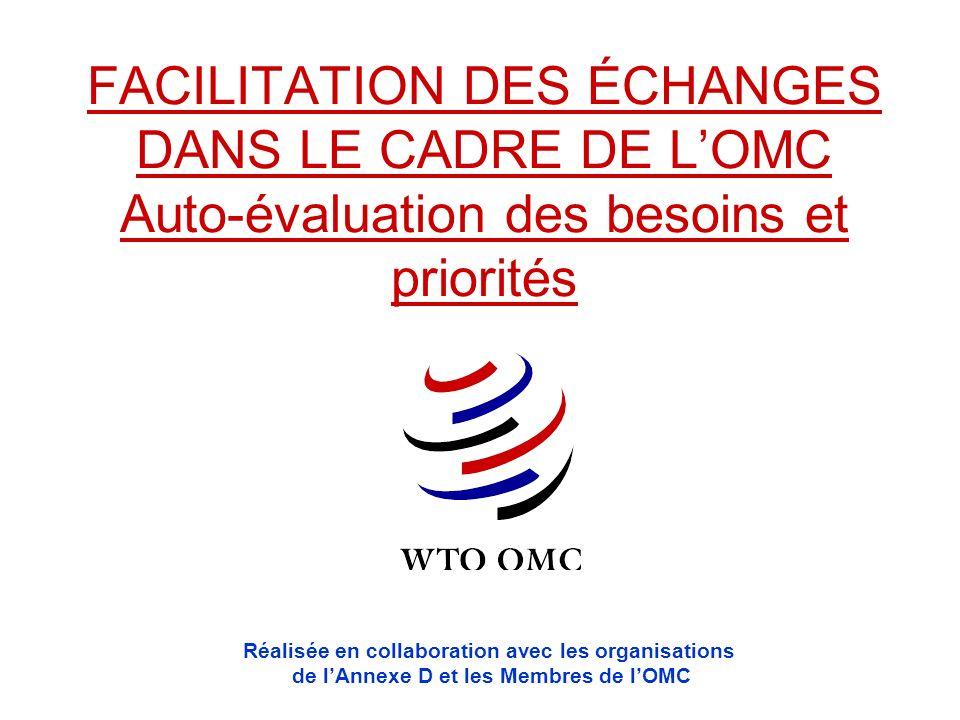 FACILITATION DES ÉCHANGES DANS LE CADRE DE L'OMC Auto-évaluation des besoins et priorités