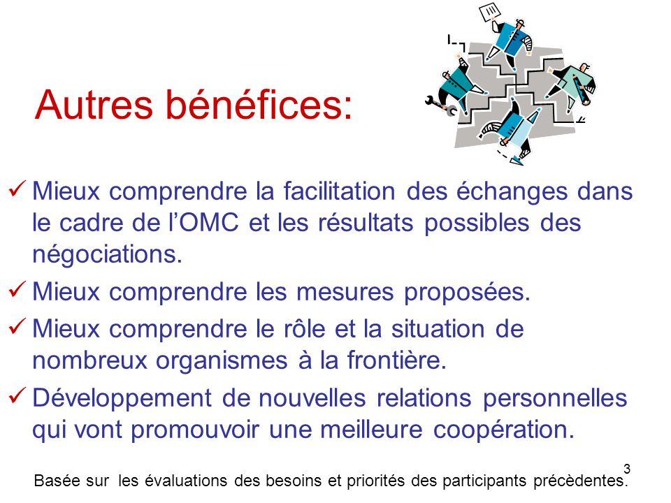 Autres bénéfices:Mieux comprendre la facilitation des échanges dans le cadre de l'OMC et les résultats possibles des négociations.