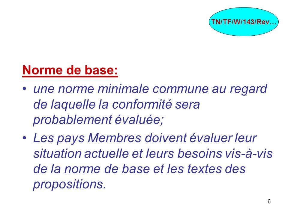 TN/TF/W/143/Rev…Norme de base: une norme minimale commune au regard de laquelle la conformité sera probablement évaluée;