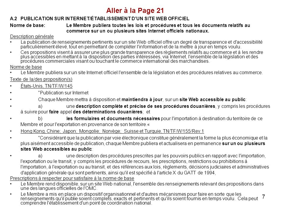 Aller à la Page 21 A.2 PUBLICATION SUR INTERNET/ÉTABLISSEMENT D UN SITE WEB OFFICIEL.