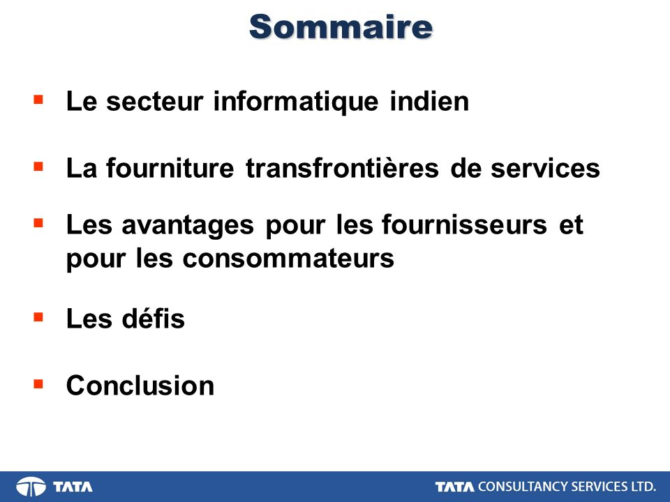 Sommaire Le secteur informatique indien