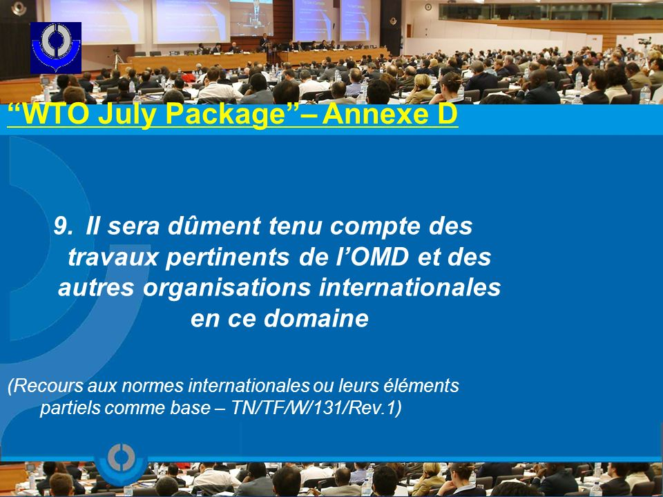 WTO July Package – Annexe D