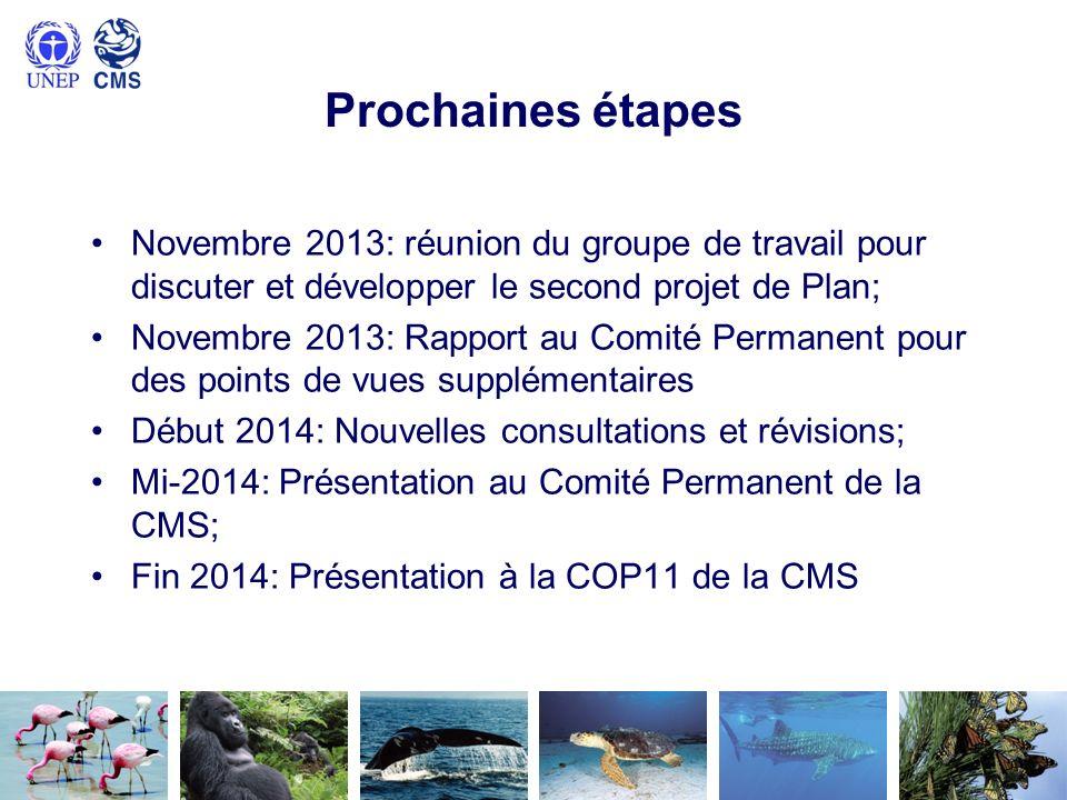 Prochaines étapes Novembre 2013: réunion du groupe de travail pour discuter et développer le second projet de Plan;