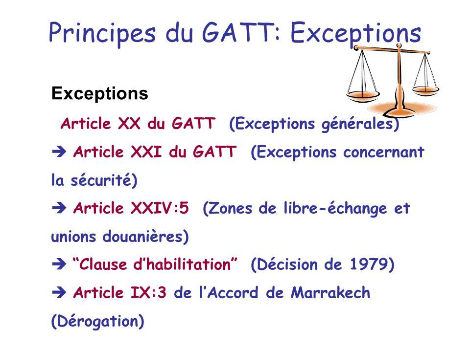 Principes du GATT: Exceptions