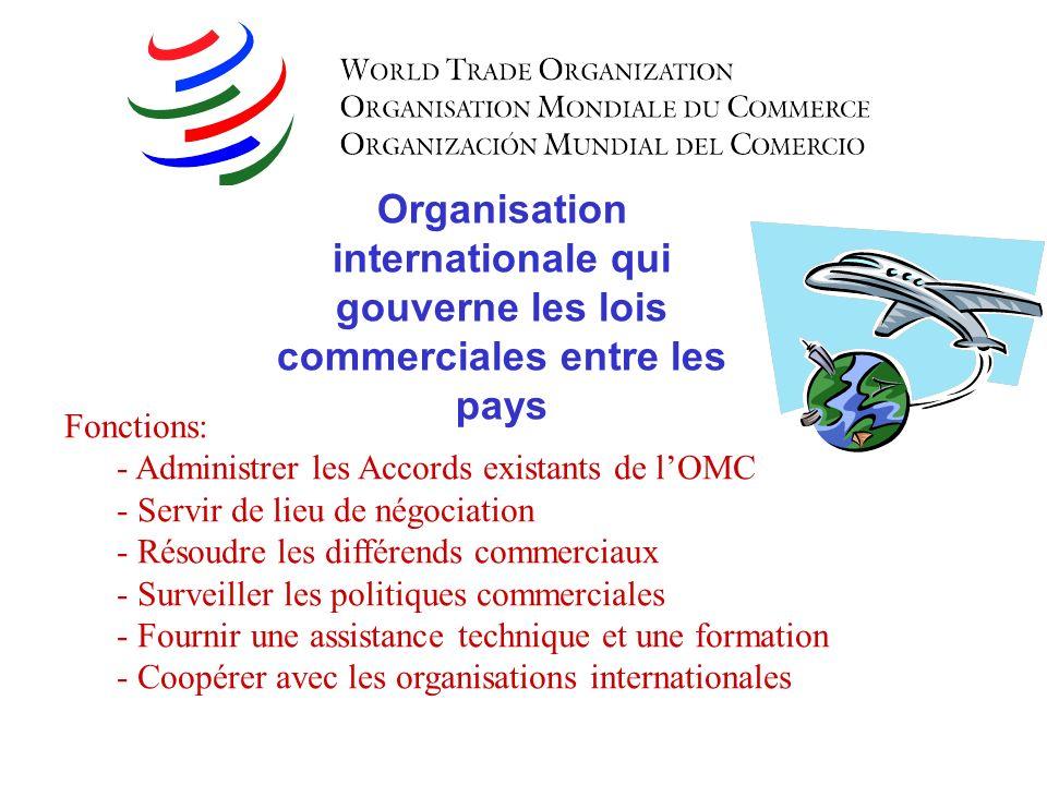 Organisation internationale qui gouverne les lois commerciales entre les pays