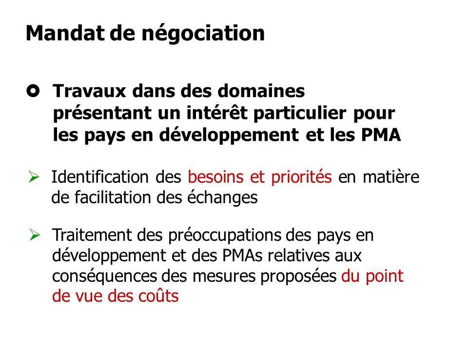 Mandat de négociationTravaux dans des domaines présentant un intérêt particulier pour les pays en développement et les PMA.
