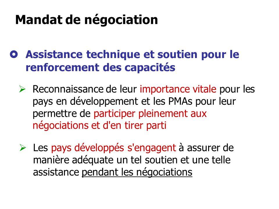Mandat de négociation Assistance technique et soutien pour le renforcement des capacités.