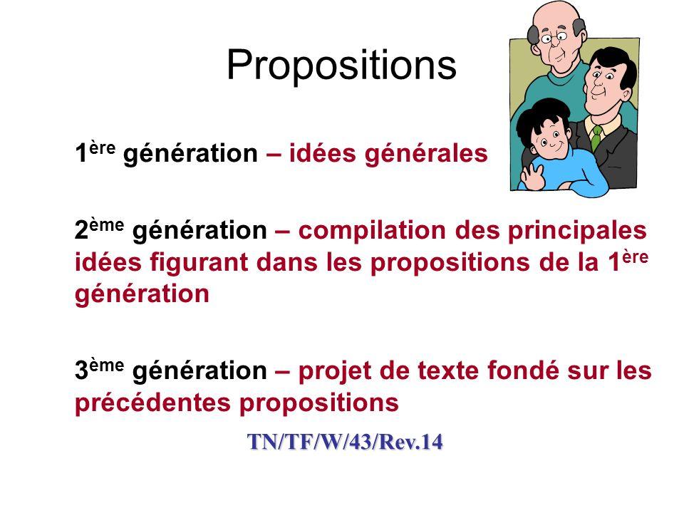 Propositions 1ère génération – idées générales