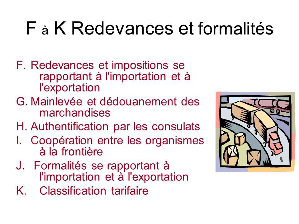 F à K Redevances et formalités