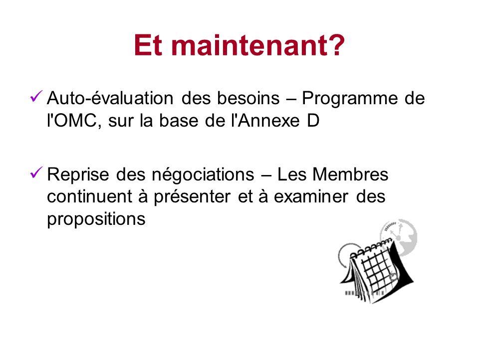 Et maintenant Auto-évaluation des besoins – Programme de l OMC, sur la base de l Annexe D.