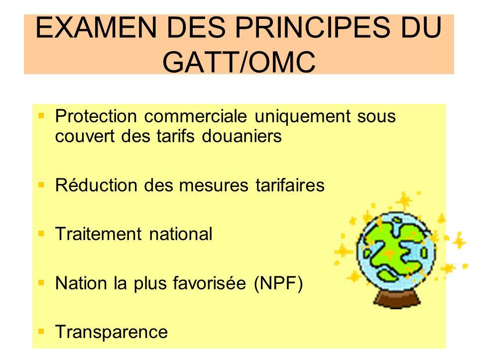 EXAMEN DES PRINCIPES DU GATT/OMC