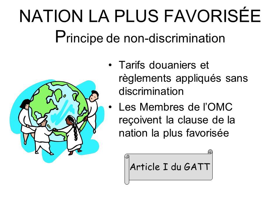 NATION LA PLUS FAVORISÉE Principe de non-discrimination
