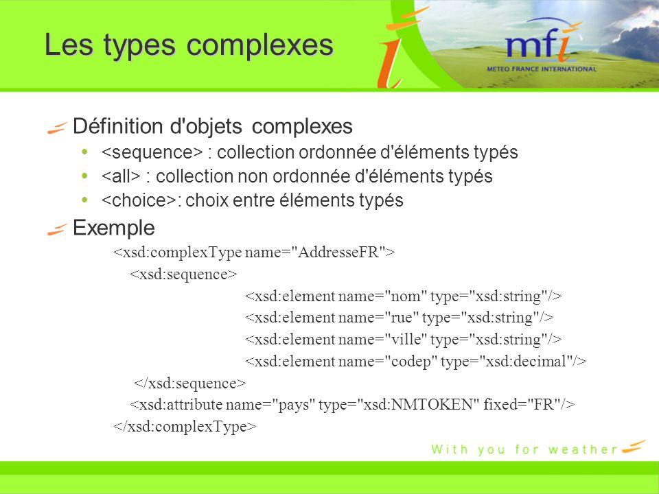 Les types complexes Définition d objets complexes Exemple