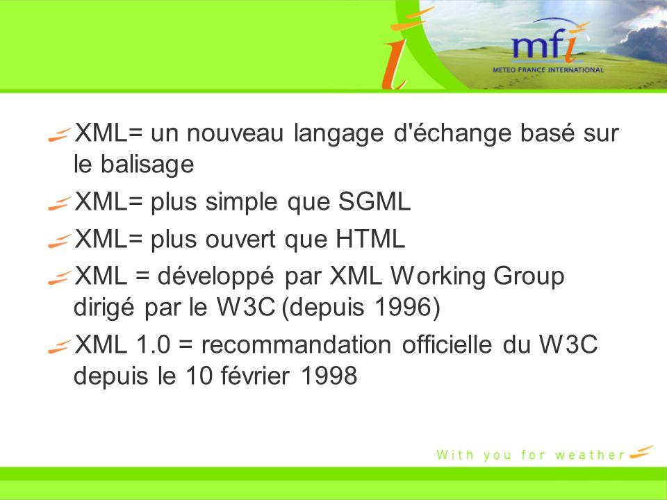 XML= un nouveau langage d échange basé sur le balisage