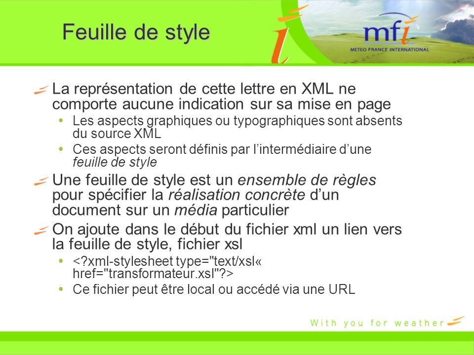 Feuille de style La représentation de cette lettre en XML ne comporte aucune indication sur sa mise en page.