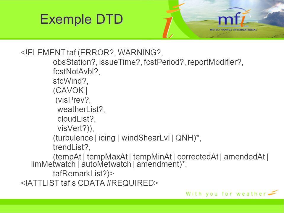 Exemple DTD <!ELEMENT taf (ERROR , WARNING ,