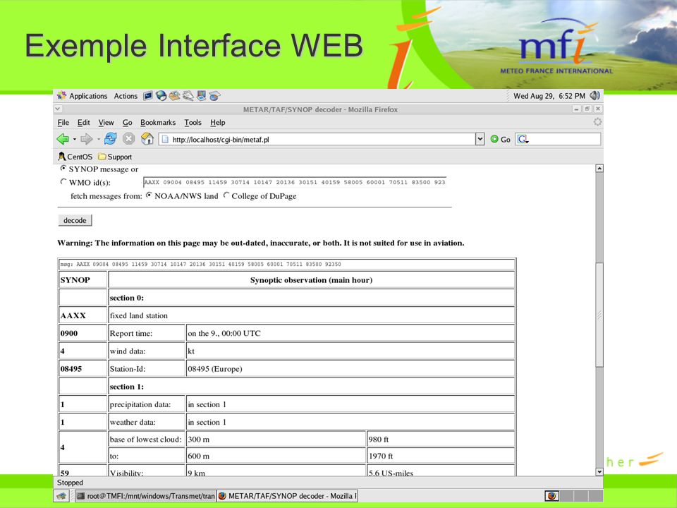 Exemple Interface WEB