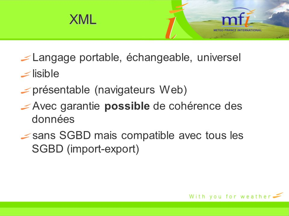 XML Langage portable, échangeable, universel lisible