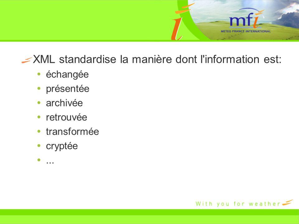 XML standardise la manière dont l information est: