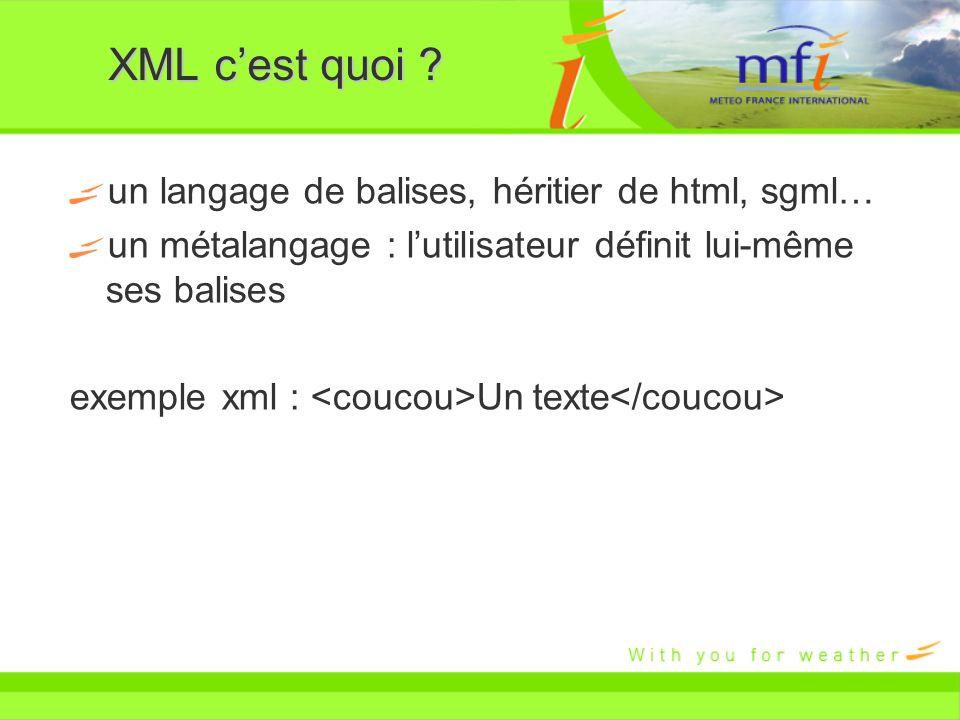 XML c'est quoi un langage de balises, héritier de html, sgml…