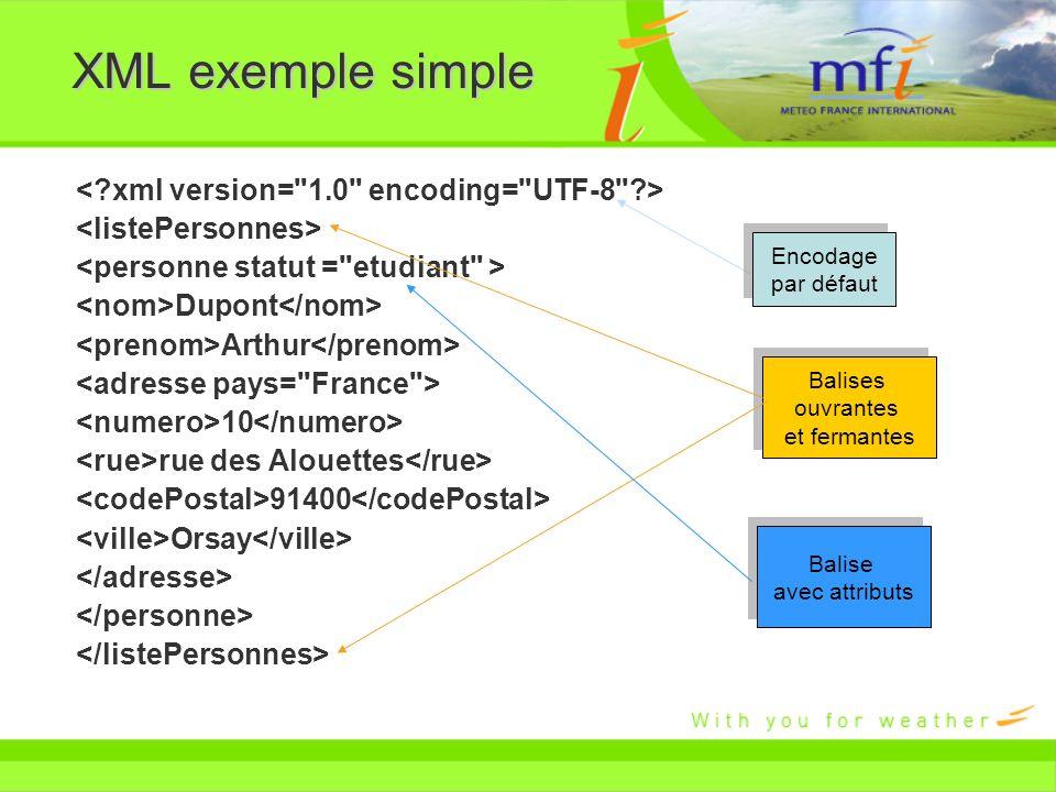 XML exemple simple < xml version= 1.0 encoding= UTF-8 >