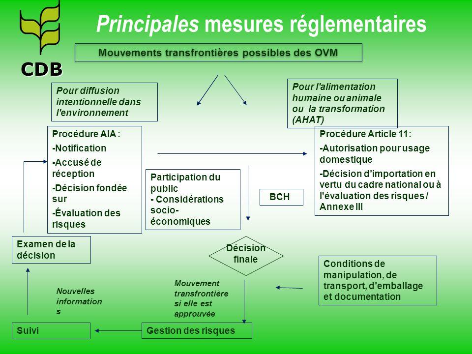 Principales mesures réglementaires