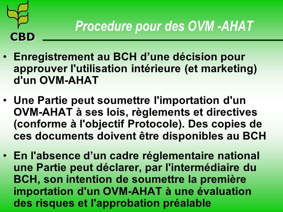 Procedure pour des OVM -AHAT