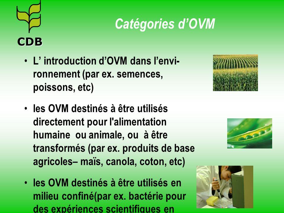 Catégories d'OVM CDB. L' introduction d'OVM dans l'envi-ronnement (par ex. semences, poissons, etc)
