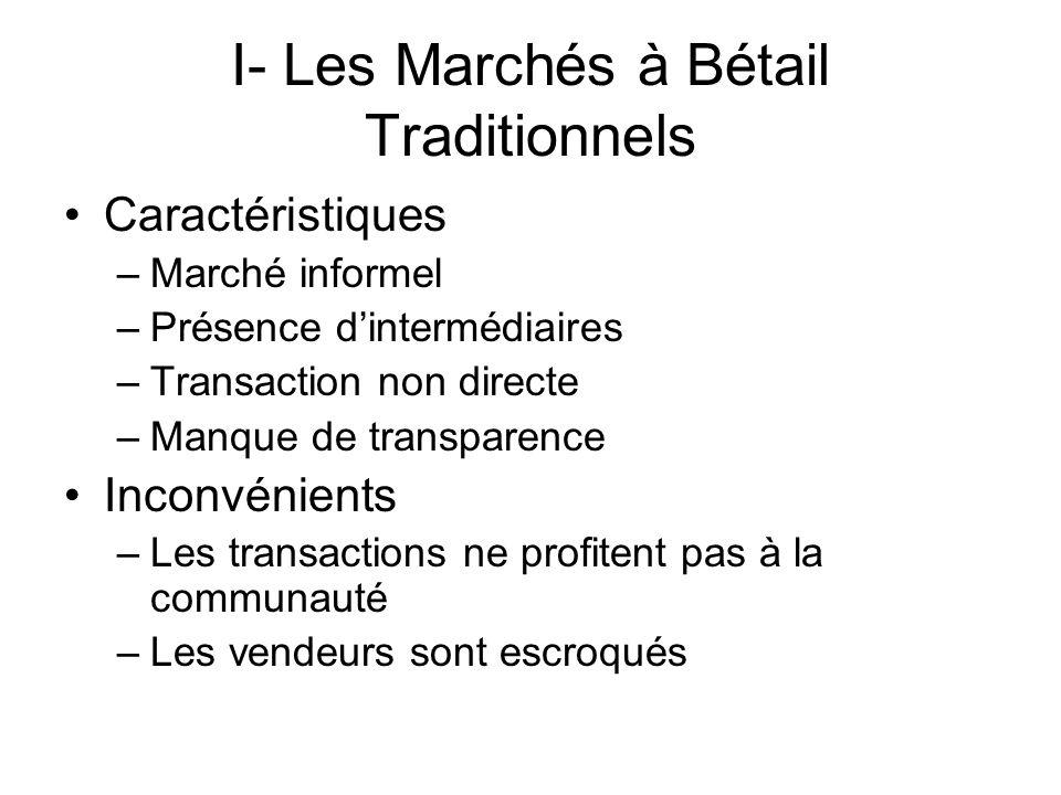 I- Les Marchés à Bétail Traditionnels
