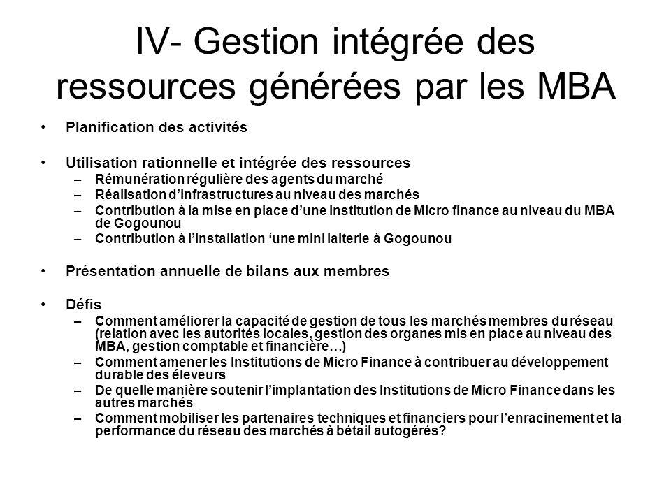 IV- Gestion intégrée des ressources générées par les MBA