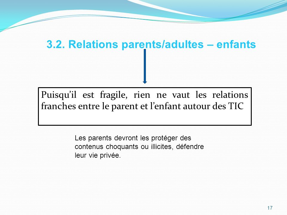 3.2. Relations parents/adultes – enfants