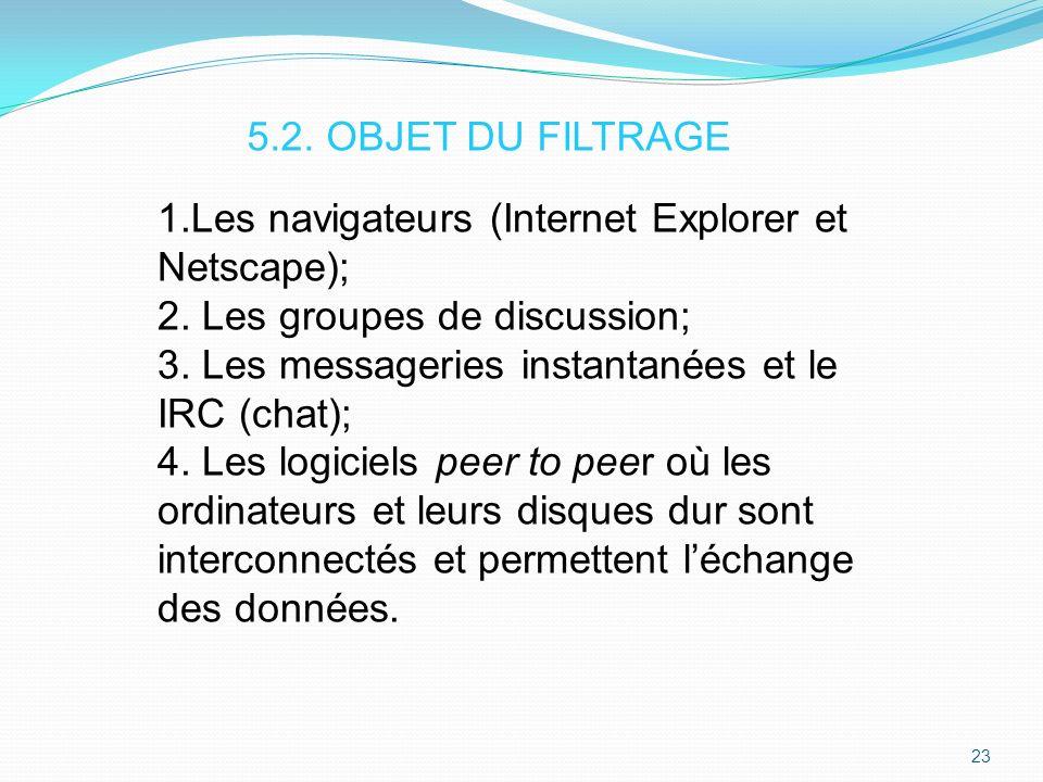 5.2. OBJET DU FILTRAGE 1.Les navigateurs (Internet Explorer et Netscape); 2. Les groupes de discussion;