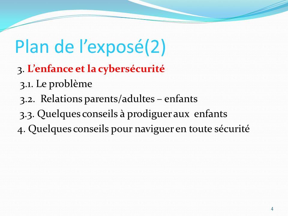 Plan de l'exposé(2) 3. L'enfance et la cybersécurité 3.1. Le problème