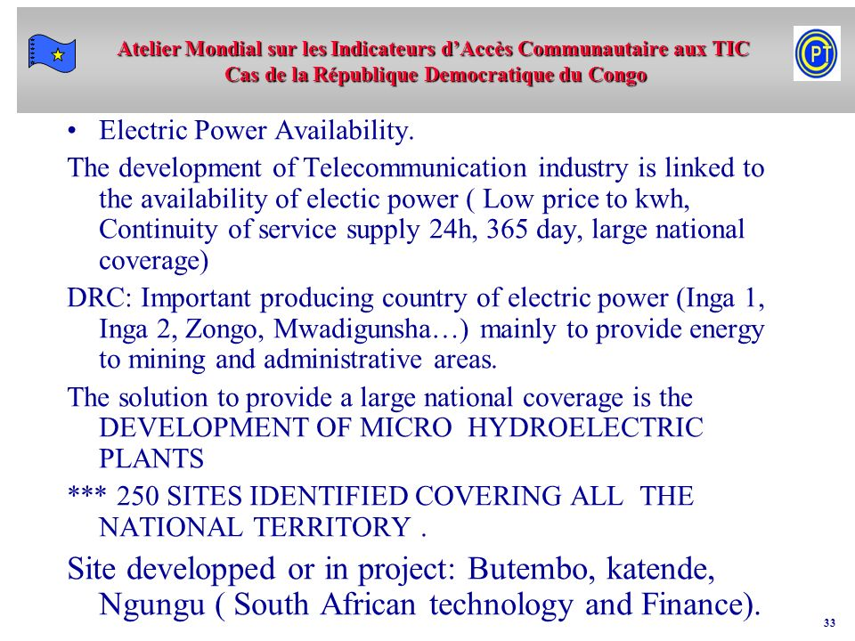 Electric Power Availability.