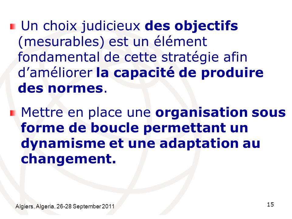 Un choix judicieux des objectifs (mesurables) est un élément fondamental de cette stratégie afin d'améliorer la capacité de produire des normes.