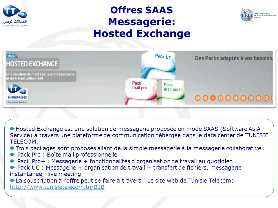 Offres SAAS Messagerie: Hosted Exchange