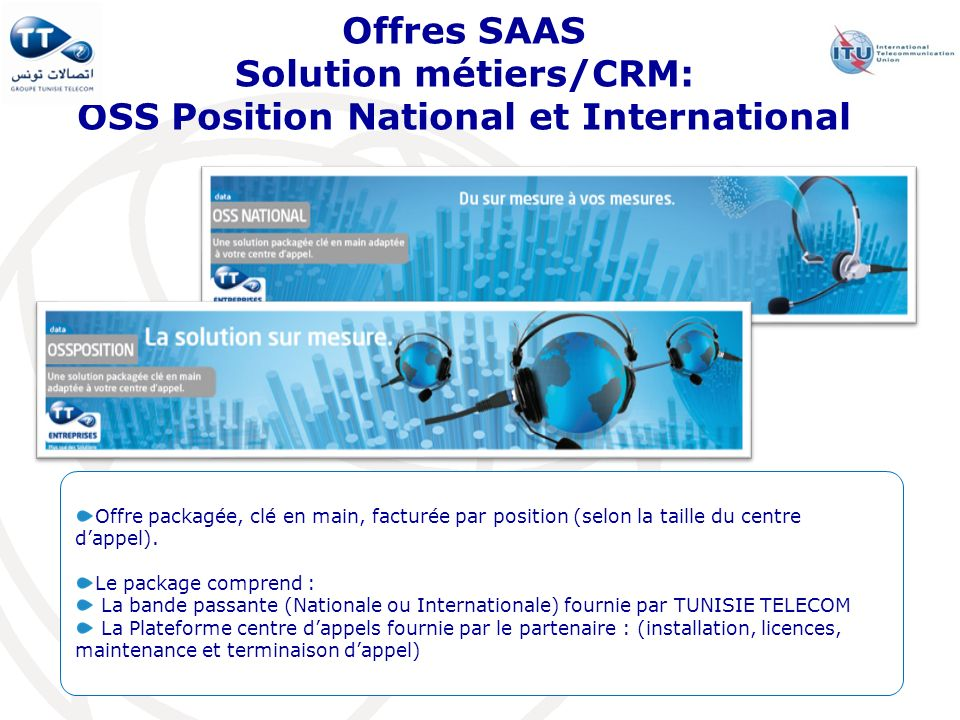 Offres SAAS Solution métiers/CRM: OSS Position National et International