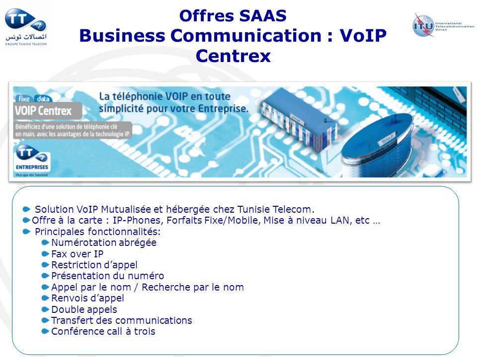 Offres SAAS Business Communication : VoIP Centrex