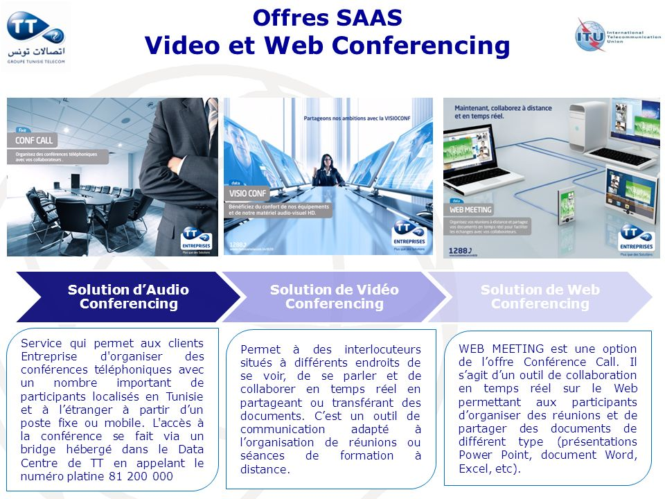 Offres SAAS Video et Web Conferencing