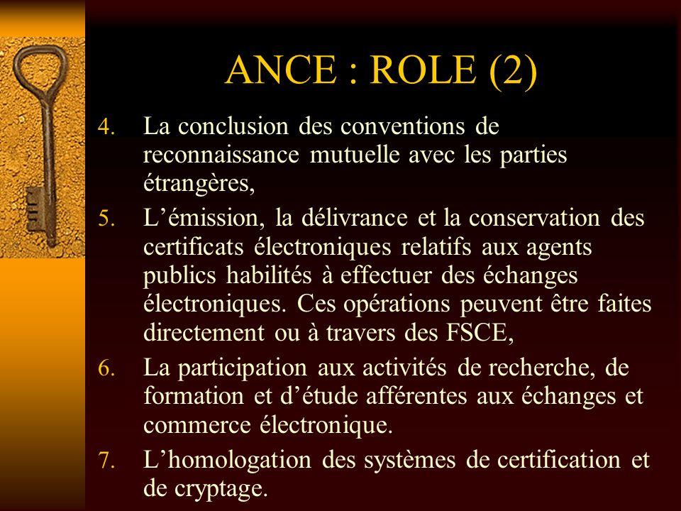 ANCE : ROLE (2) La conclusion des conventions de reconnaissance mutuelle avec les parties étrangères,