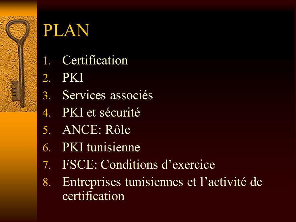 PLAN Certification PKI Services associés PKI et sécurité ANCE: Rôle
